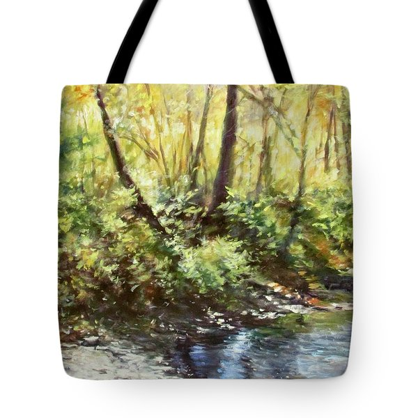 Morning By The River Tote Bag by Bonnie Mason