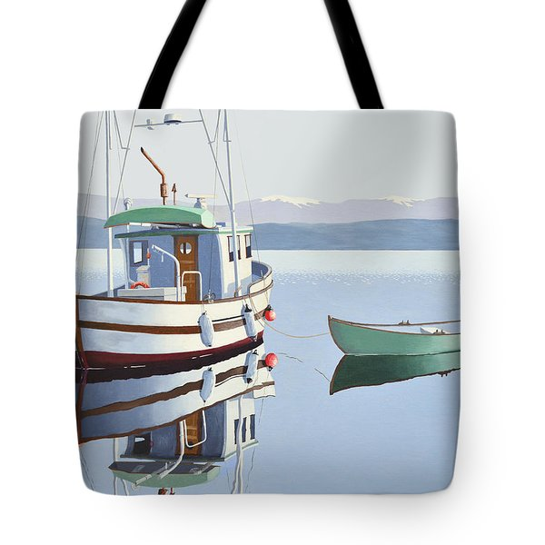 Tote Bag featuring the painting Morning Calm-fishing Boat With Skiff by Gary Giacomelli