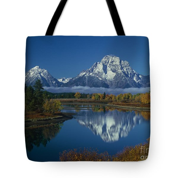 Tote Bag featuring the photograph Morning Cloud Layer Oxbow Bend In Fall Grand Tetons National Park Wyoming by Dave Welling