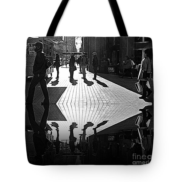 Tote Bag featuring the photograph Morning Coffee Line On The Streets Of New York City by Lilliana Mendez