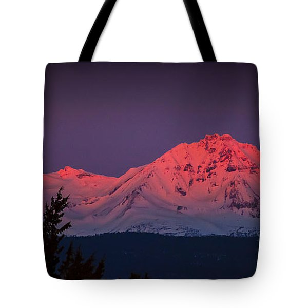 Morning Dawn On Two Of Three Sisters Mountain Tops In Oregon Tote Bag