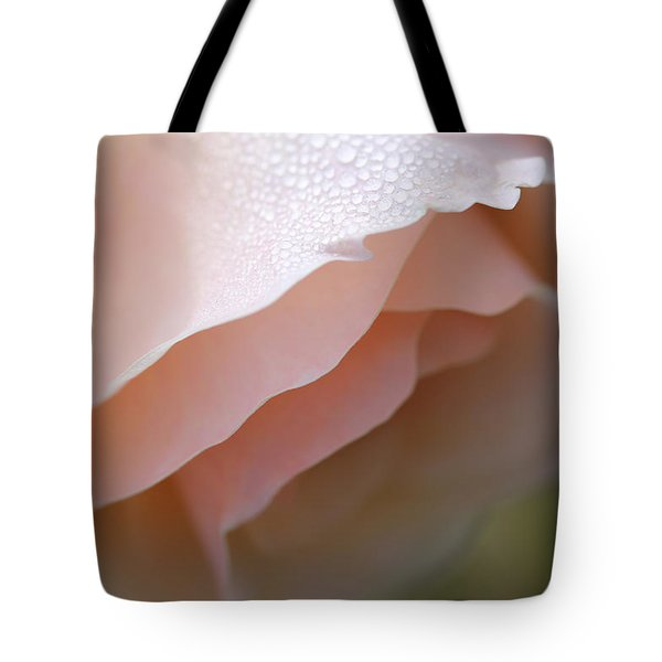 Morning Dew Peach Rose Flower Tote Bag by Jennie Marie Schell