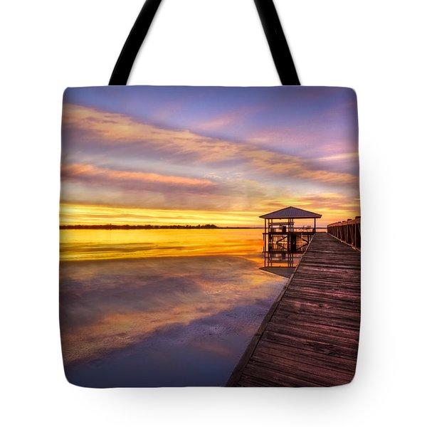 Morning Dock Tote Bag by Debra and Dave Vanderlaan