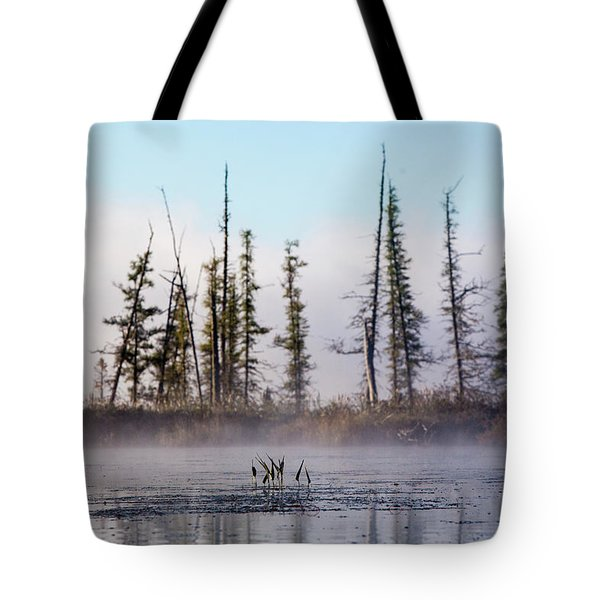 Morning Fog And Trees On The Edge Tote Bag