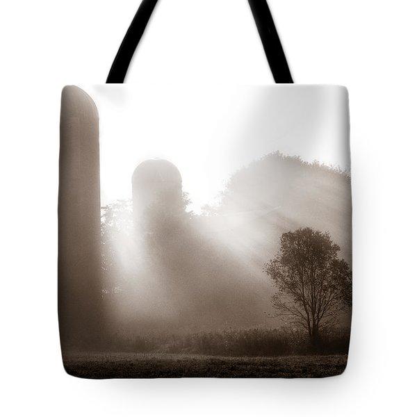 Morning Fog Burning Off The Farm Tote Bag