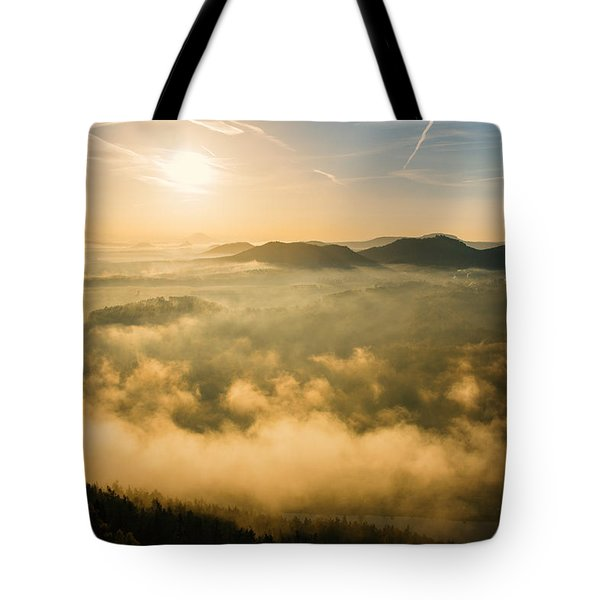 Morning Fog In The Saxon Switzerland Tote Bag