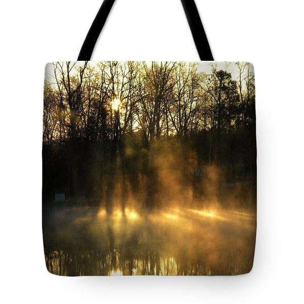 Morning Fog Rising Tote Bag