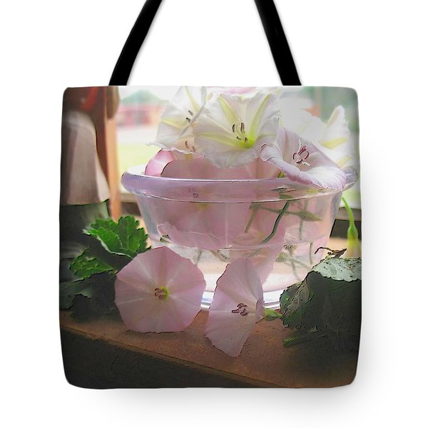Tote Bag featuring the digital art Morning Glory Light by Aliceann Carlton