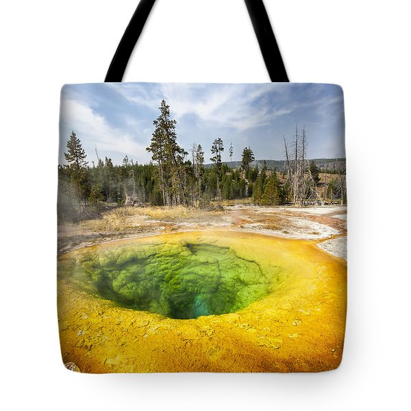 Tote Bag featuring the photograph Morning Glory Pool In Yellowstone National Park by Bryan Mullennix