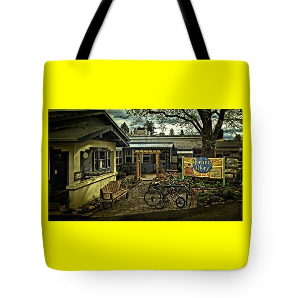 Tote Bag featuring the photograph Morning Glory Cafe Ashland by Thom Zehrfeld