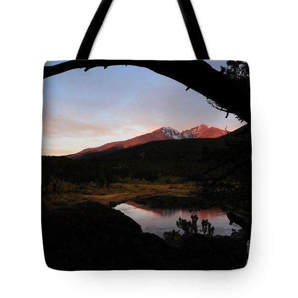 Morning Glow On Mountain Peaks Tote Bag by Karen Lee Ensley
