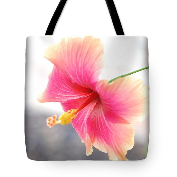Morning Hibiscus In Gentle Light - Square Macro Tote Bag
