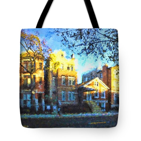 Morning In Bucktown Tote Bag by Dave Luebbert