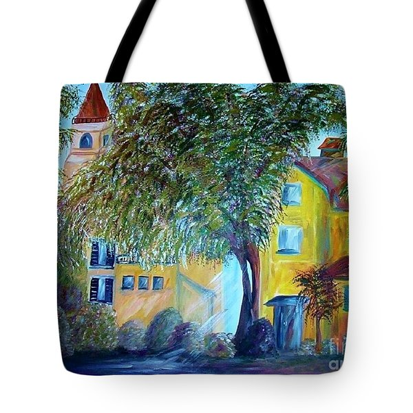 Tote Bag featuring the painting Morning In Tuscany by Eloise Schneider