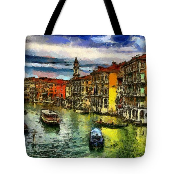 Tote Bag featuring the painting Beautiful Morning In Venice, Italy by Georgi Dimitrov
