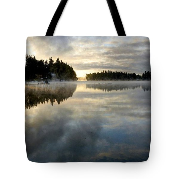 Morning Lake Reflection Tote Bag
