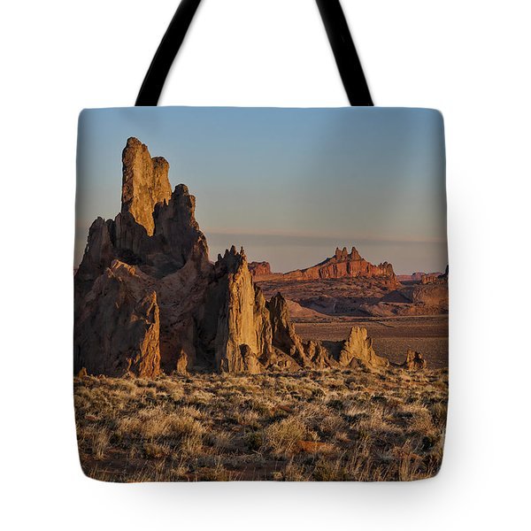 Morning Light At Church Rock Tote Bag by Sandra Bronstein