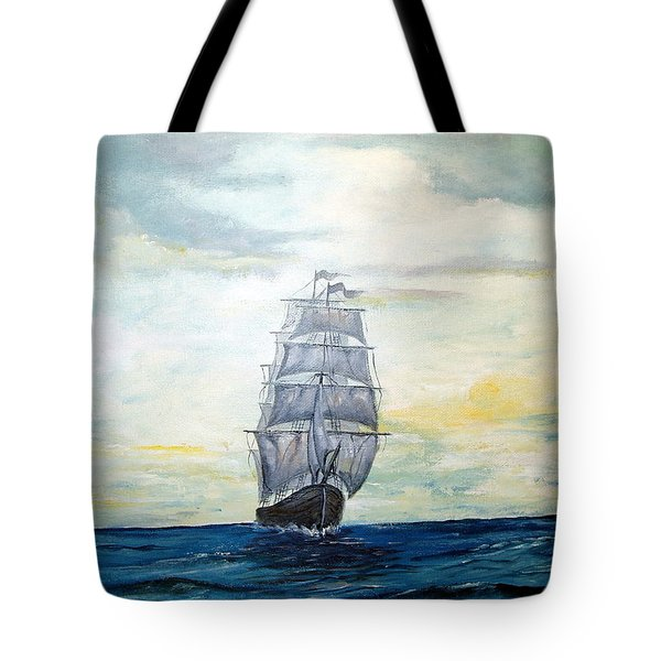 Tote Bag featuring the painting Morning Light On The Atlantic by Lee Piper