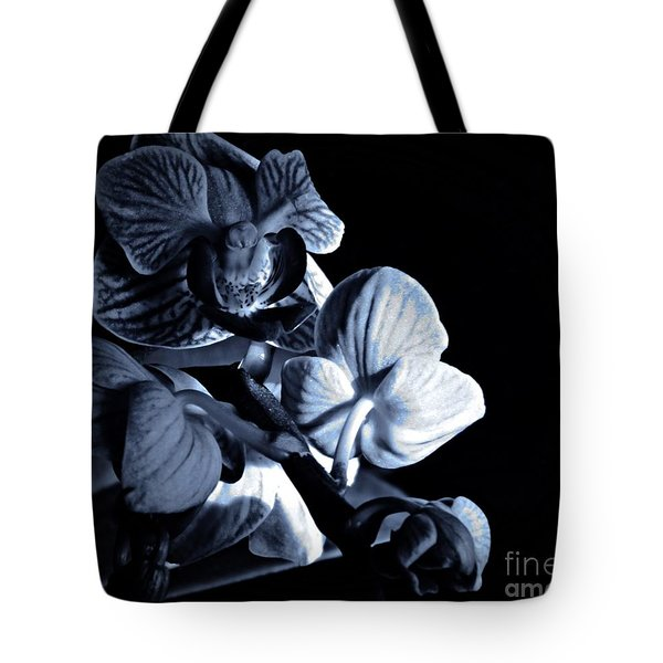Morning Light Orchids Cyan Tote Bag by Chalet Roome-Rigdon