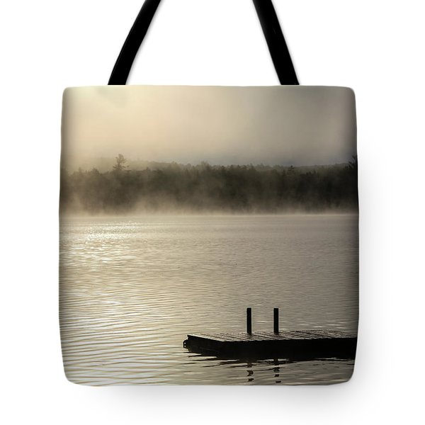 Morning Mist And A Dock On A Lake Tote Bag