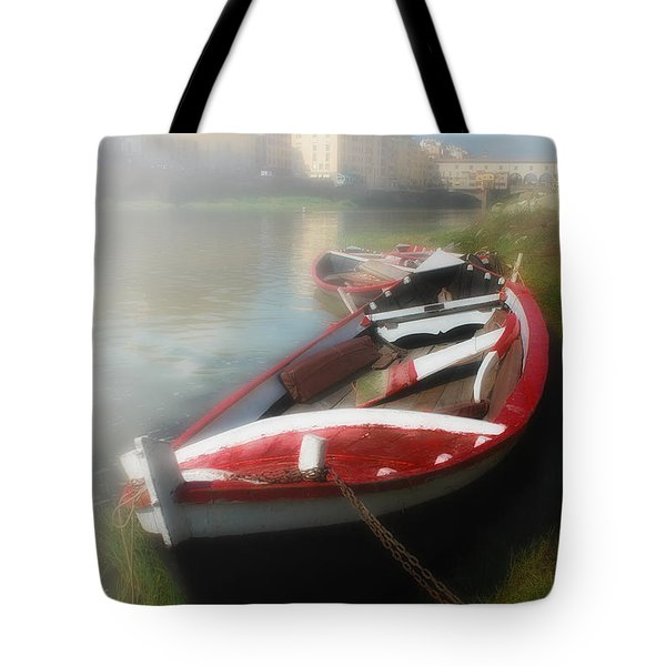 Morning Mist On The Arno River Italy Tote Bag by Mike Nellums