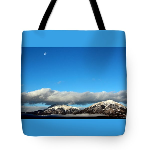 Tote Bag featuring the photograph Morning Moon Over Spanish Peaks by Barbara Chichester