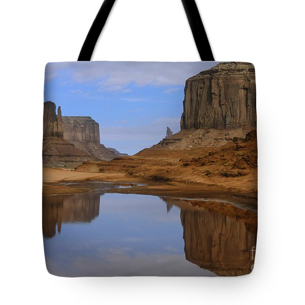 Morning Reflections In Monument Valley Tote Bag by Sandra Bronstein