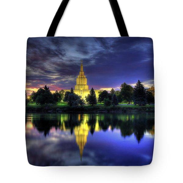 Morning Reflections Of Idaho Falls Temple  Tote Bag