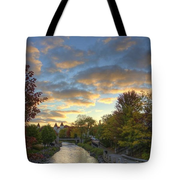 Morning Sky On The Fox River Tote Bag