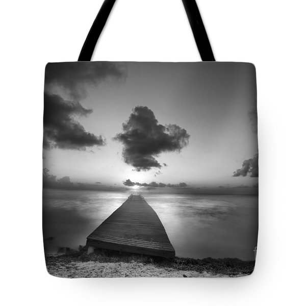 Morning Sunrise By The Dock Tote Bag by Dan Friend