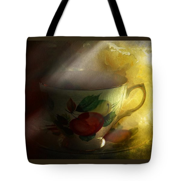 Morning Tea With Peony Tote Bag by Jeff Burgess