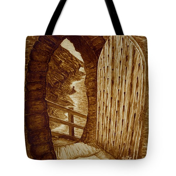 Tote Bag featuring the painting Morning Walk On The Beach Original Coffee Painting by Georgeta Blanaru