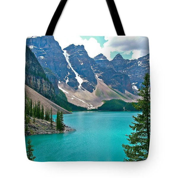 Morraine Lake In Banff Np-alberta Tote Bag