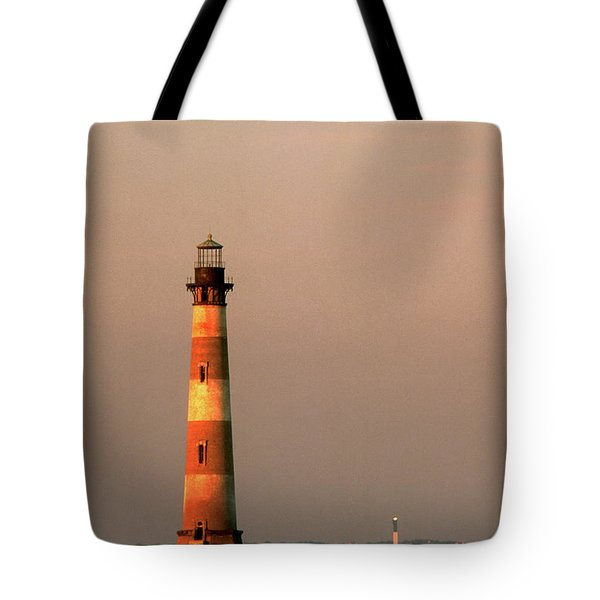 Morris Island  And Sulivan Island Lighthouses  Tote Bag by John Harmon