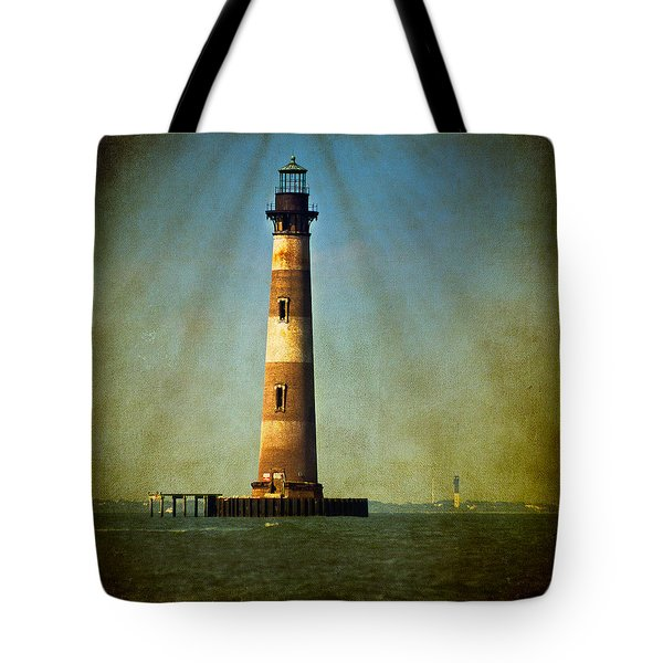 Morris Island Light Color Vintage Tote Bag