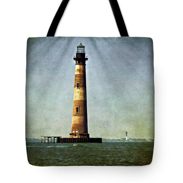 Morris Island Light Vintage Color Uncropped Tote Bag
