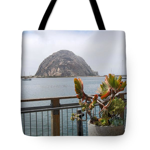 Tote Bag featuring the photograph Morro Rock At Morro Bay by Debra Thompson