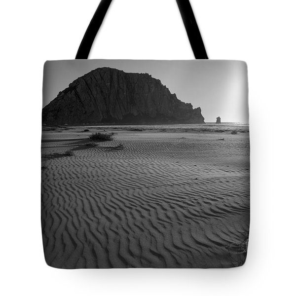 Morro Rock Silhouette Tote Bag
