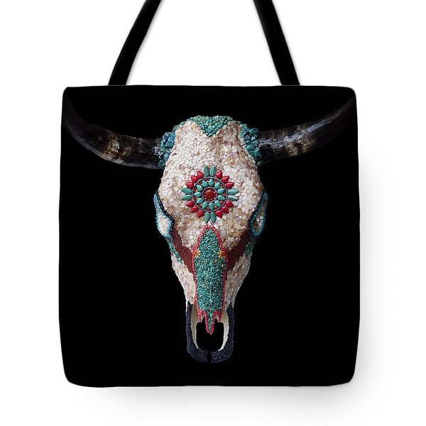Mosaic Cow Skull Tote Bag by Katherine Sutcliffe