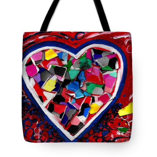 Mosaic Heart Tote Bag by Genevieve Esson