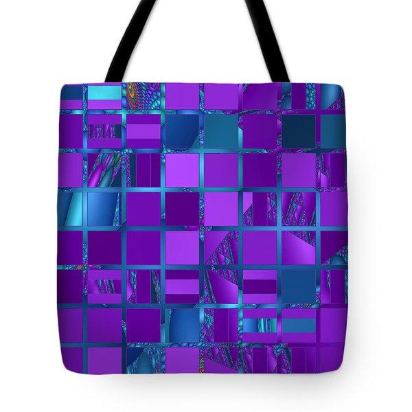 Mosaic In Purple And Teal Tote Bag by Judi Suni Hall