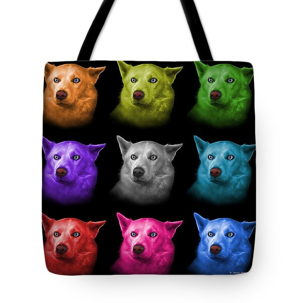 Tote Bag featuring the painting Mosaic Mila - Siberian Husky - 2103 - Bb by James Ahn