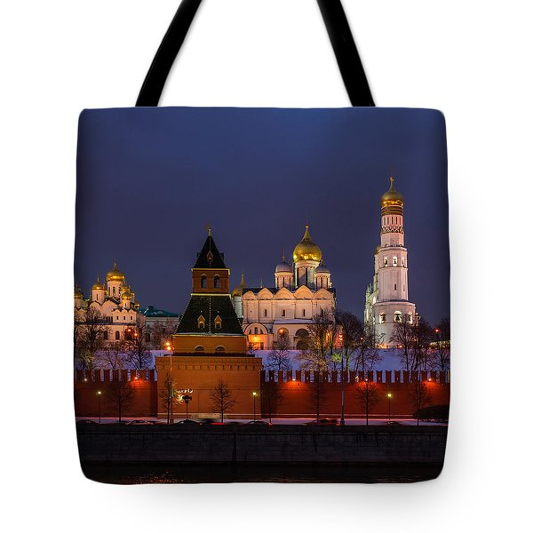 Moscow Kremlin Cathedrals At Night - Square Tote Bag by Alexander Senin