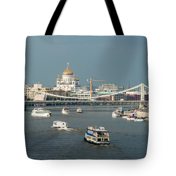 Moscow-river Traffic In Summertime - Featured 3 Tote Bag by Alexander Senin