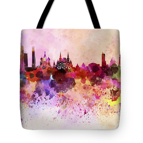 Moscow Skyline In Watercolor Background Tote Bag