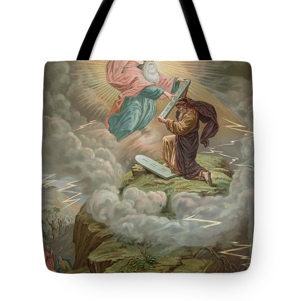 Moses Receives The Tablets Of Tote Bag by French School