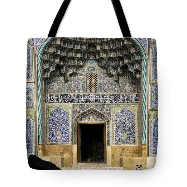 Mosque Door In Isfahan Esfahan Iran Tote Bag
