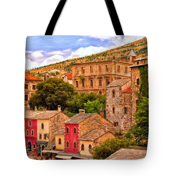 Tote Bag featuring the painting Mostar by Michael Pickett