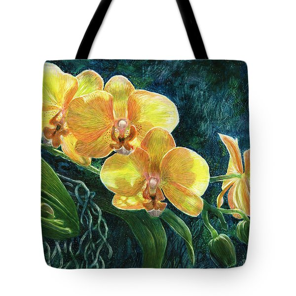 Tote Bag featuring the drawing Moth Orchids by Sandra LaFaut