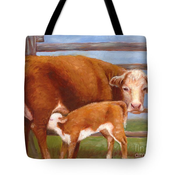 Mother And Baby Cow Tote Bag